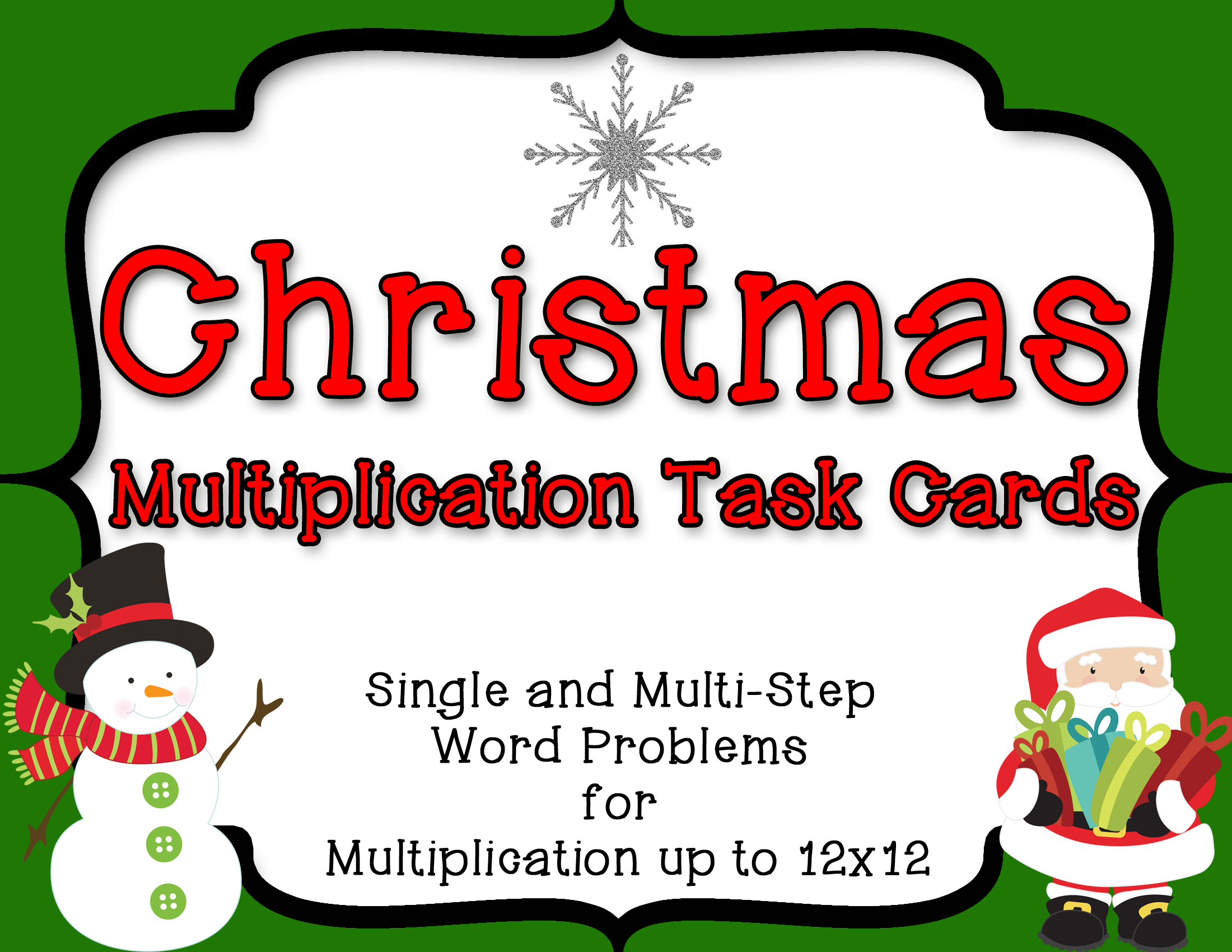 Christmas Multiplication Task Cards 28 Story Problems