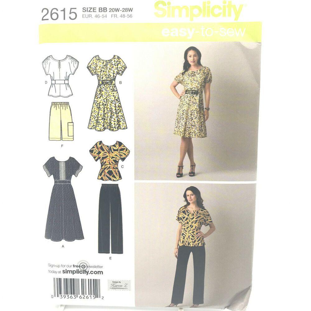 Simplicity 2615 Womens Plus Size Dress Top Pants Shorts 20w 28w Uncut Pattern Ff Simplicity Womens Dress Tops Plus Size Tunic Dress Fleece Jacket Pattern