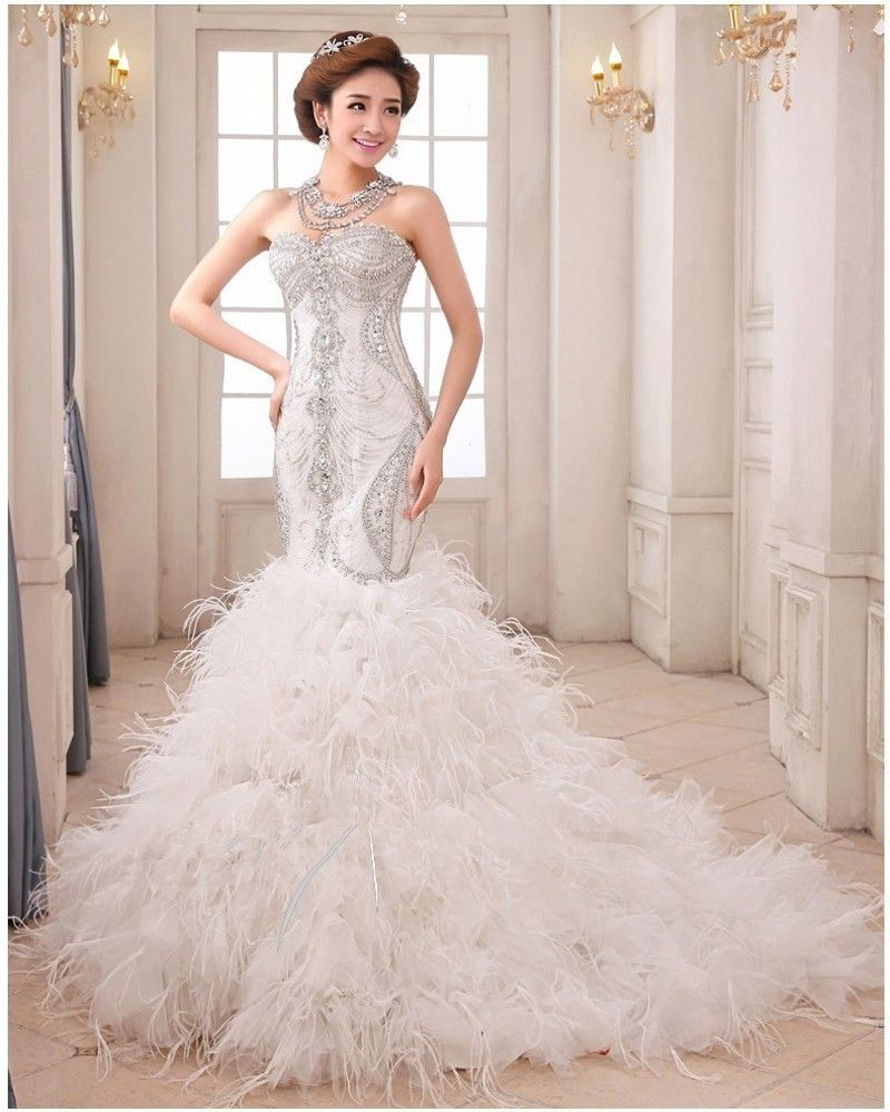 Mermaid Wedding Dresses With Feather Bottom Wedding Dresses Wedding Dress With Feathers Dresses
