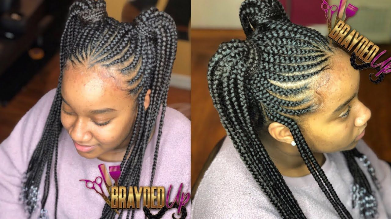 Thickest Hair Ive Ever Done| 2 Feed In Ponytails With Beads - YouTube | Hairstyle in 2019 | Feed ...
