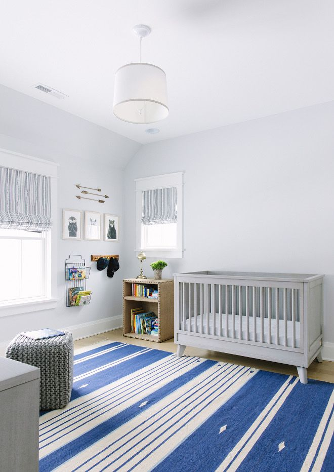 Grey Nursery With Striped Rug Pale Features A