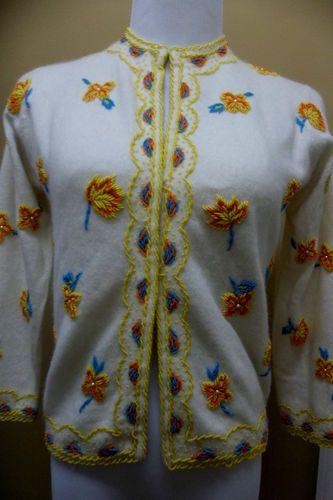 Amazing Elsie Tu Hong Kong Cashmere Lavishly Beaded Cardigan Sweater 36 s M | eBay