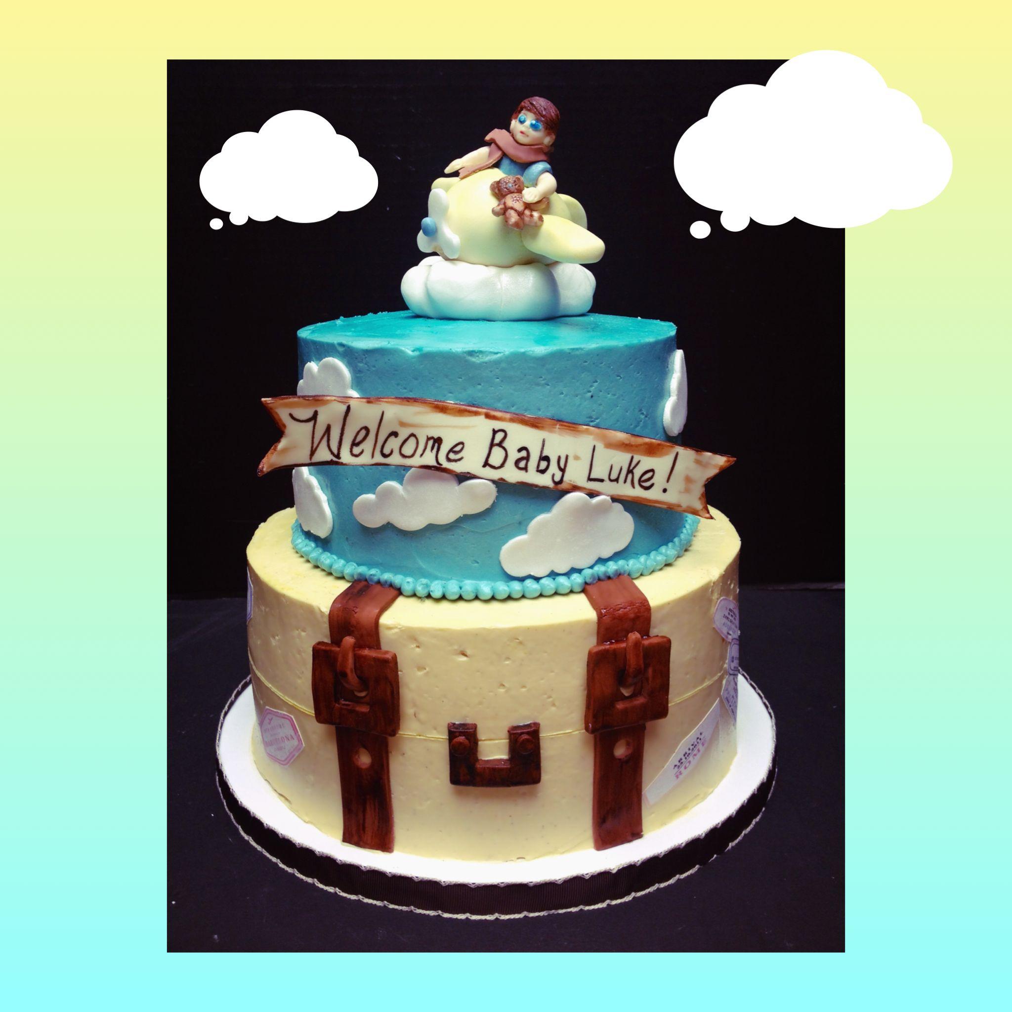 World travel suitcase baby shower cake White cake with vanilla