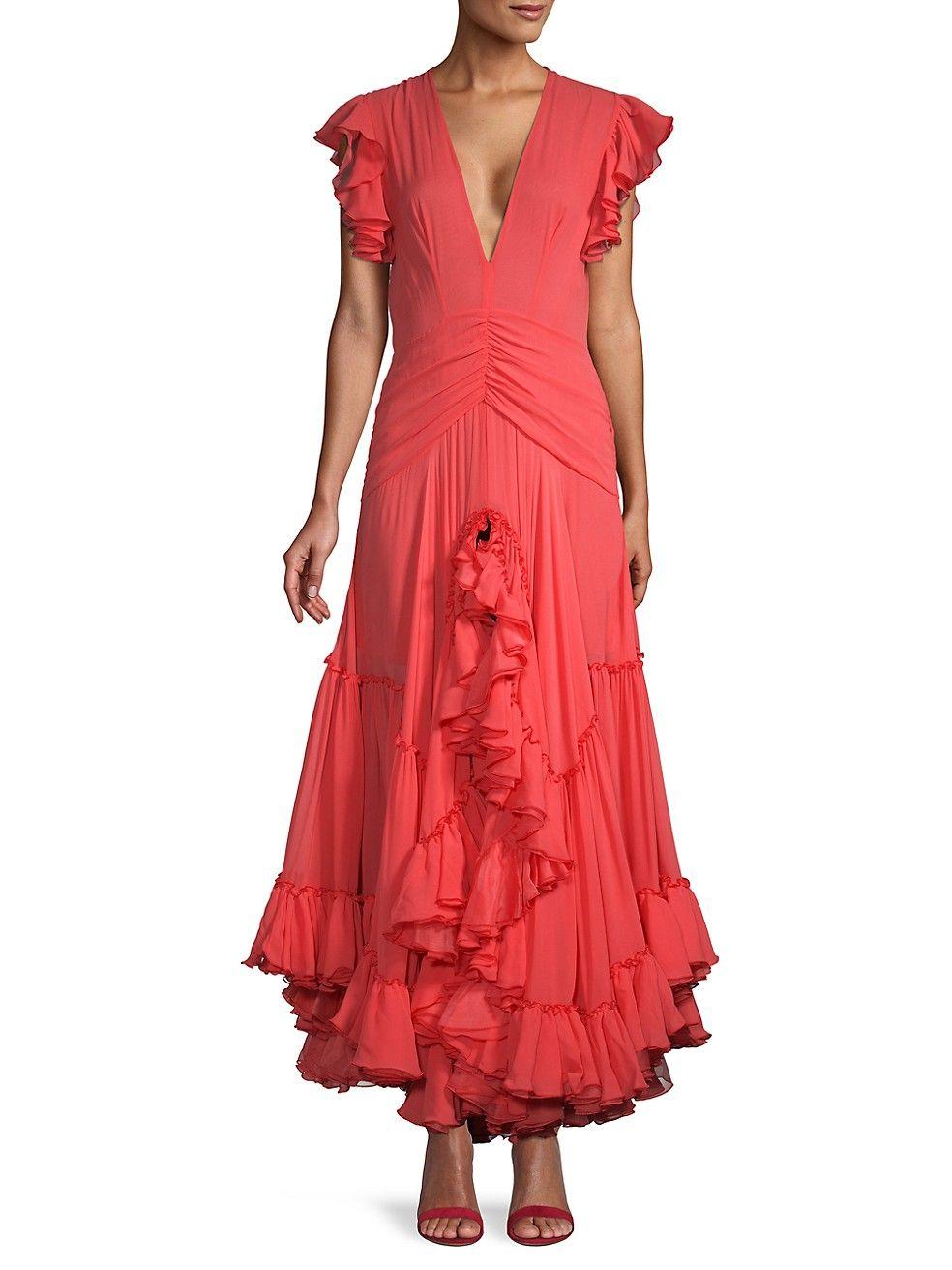 Giambattista valli silk tiered ruffle gown on sale saks