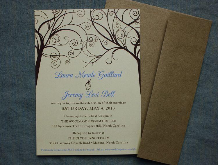 Cornflower Blue, Tan U0026 Brown Swirl Trees Rustic Wedding Invitations