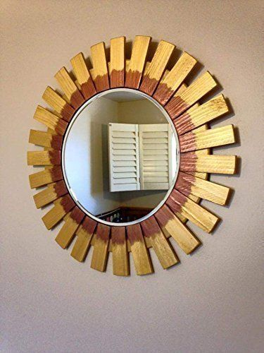 sunburst sunflower round wall mirror 22 features hooks framed frame material