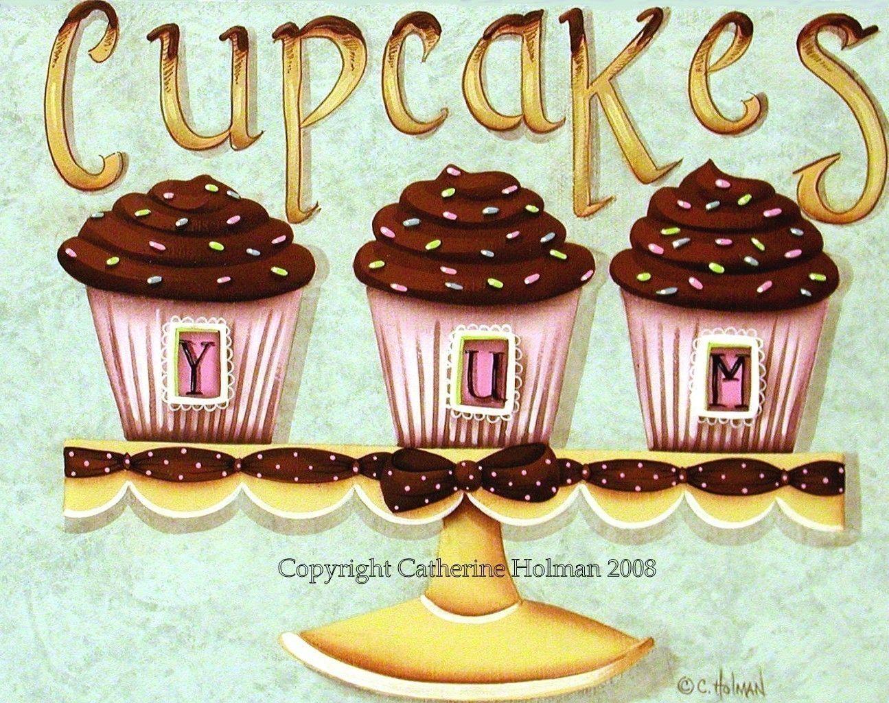 Folk Art Prints | Cupcake Yum Folk Art Print by catherineholman on Etsy