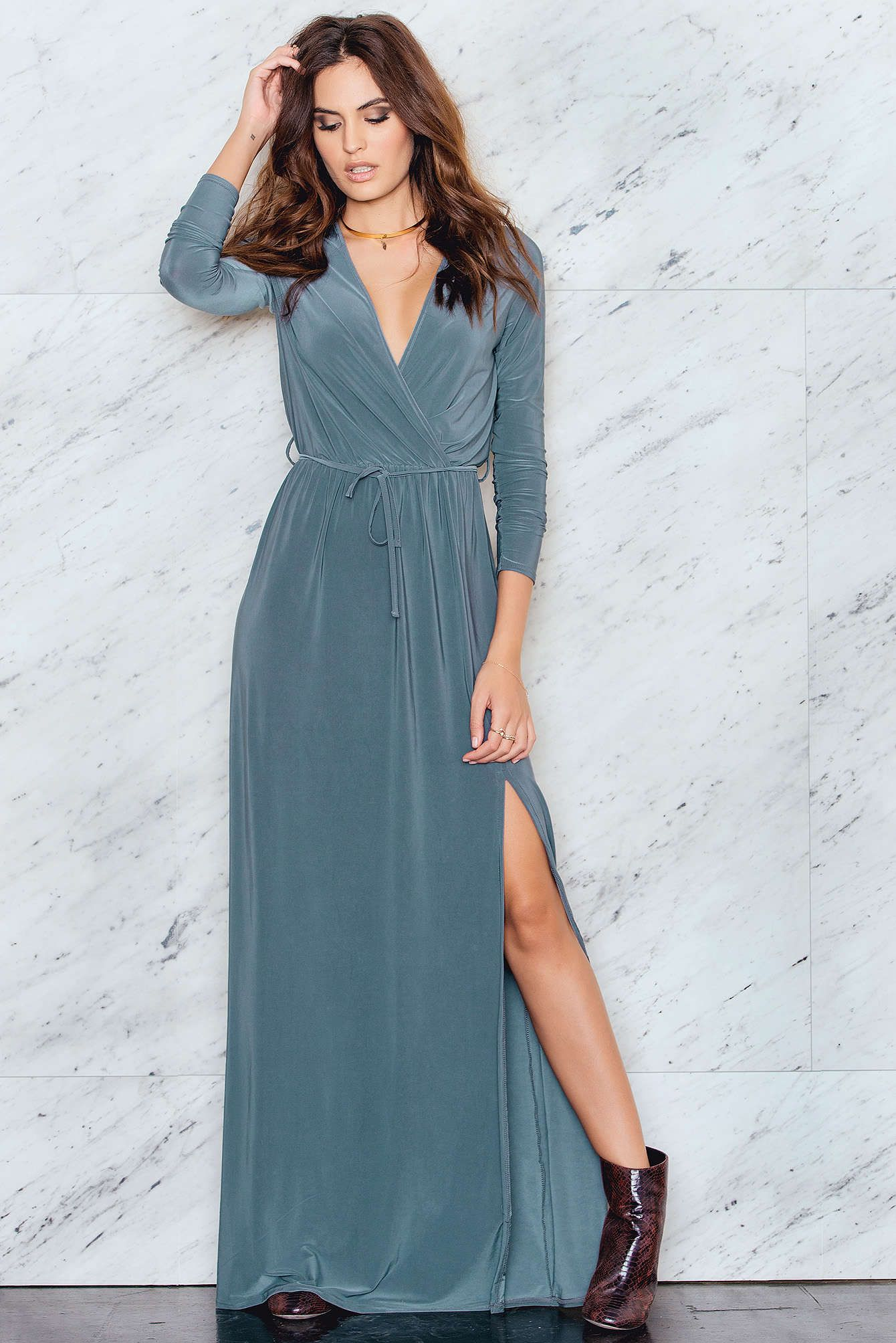 Look flirty tonight! The long sleeve wrap over tie maxi dress with ...