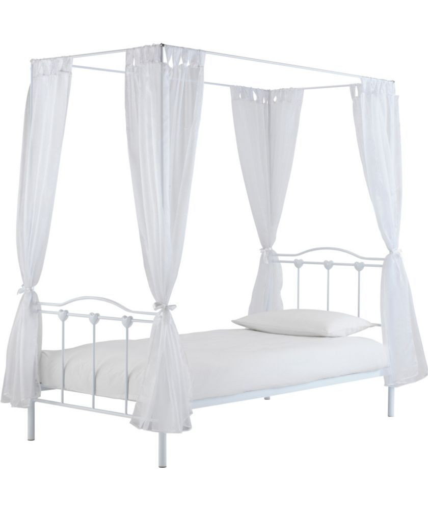 Buy Princess Single Four Poster Bed Frame White At Argos