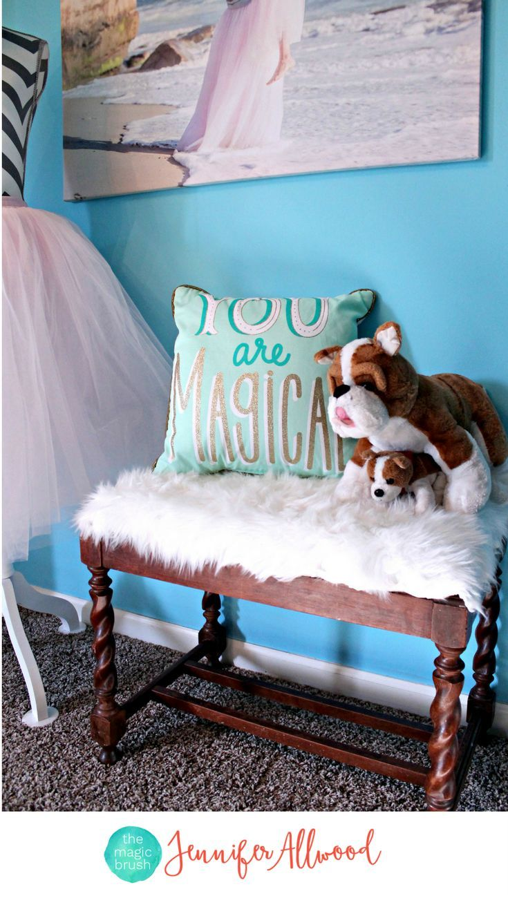 You are Magical Pillow by Target in a Coral and Blue Girls Bedroom with a custom white loft bed  by Jennifer Allwood | GIrls Bedroom Ideas | Girls Decor } Kids Rooms} Faux Fur Bench | Tassel | Mint & Blush | White Bedroom Furniture | Pottery Barn Teen Deco Medallion Duvet Cover + Sham Warm Multi | Tutu Mannequin #kidsroom #girlsroom #homedecor