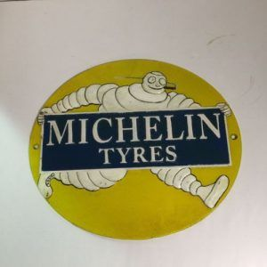 Wall Plaque Bibendum Michelin Man Embossed Cast Iron Metal Sign Tires