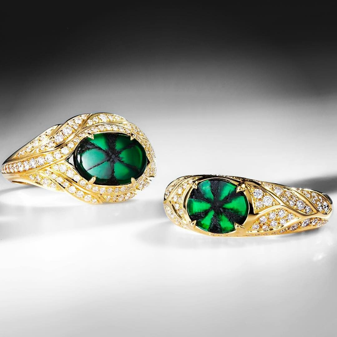19004c67b83ef Kat Florence Colombian Trapiche Emeralds with Flawless Diamonds set ...