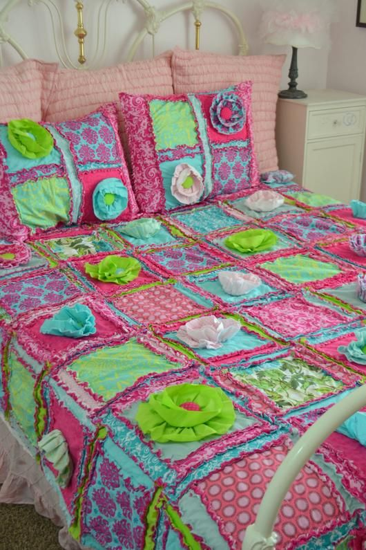Rag Quilt, Hot Pink, Turquoise, Lime Green, Available In
