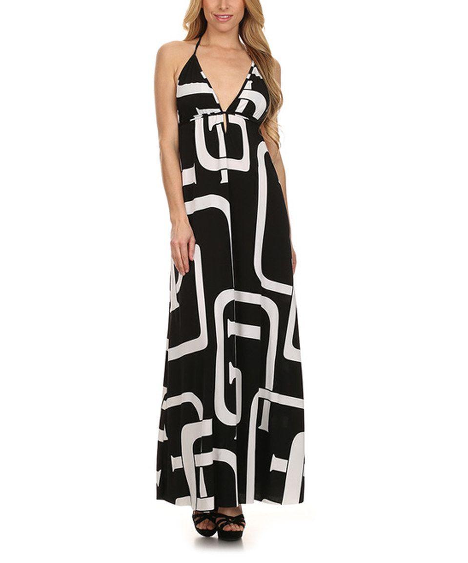 Look at this #zulilyfind! Karen T. Design Black & White Geometric Halter Maxi Dress by Karen T. Design #zulilyfinds
