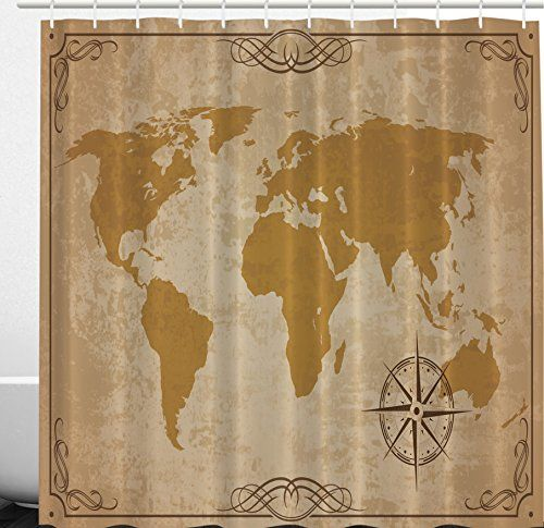 Ambesonne Teen Bathroom Decor Vintage Aged Antique World Map with a ...