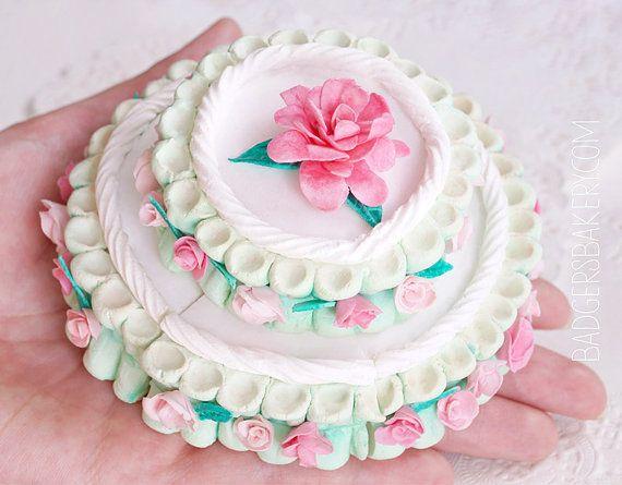 American Girl 1//3 Scale Miniature Doll Food Handmade Polymer Clay Layered Cake