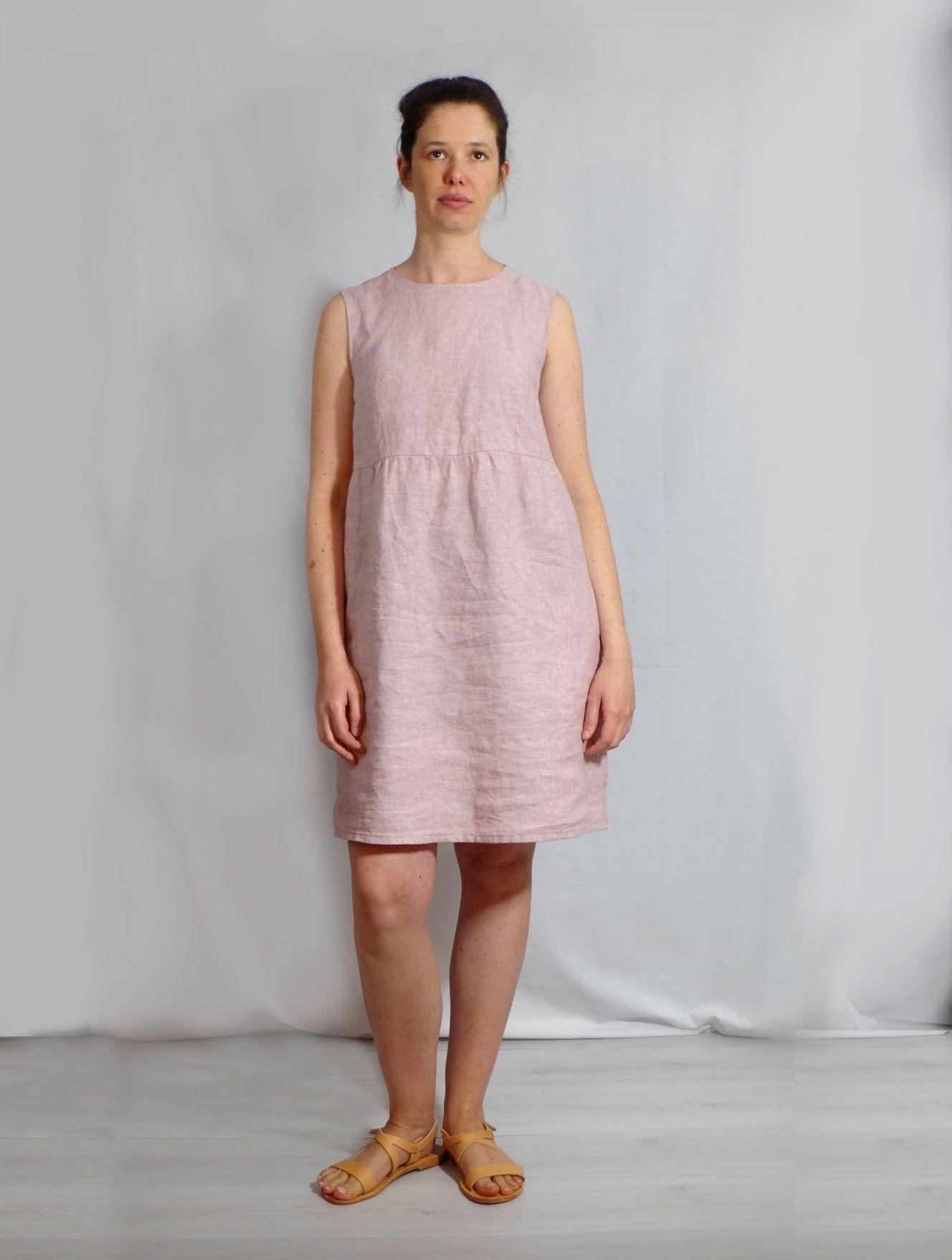 Photo of Vestito. Abito in lino rosa attillato senza maniche. Tasche laterali. Abito con bottoni, abito estivo femminile per città e spiaggia. FATTO SU MISURA