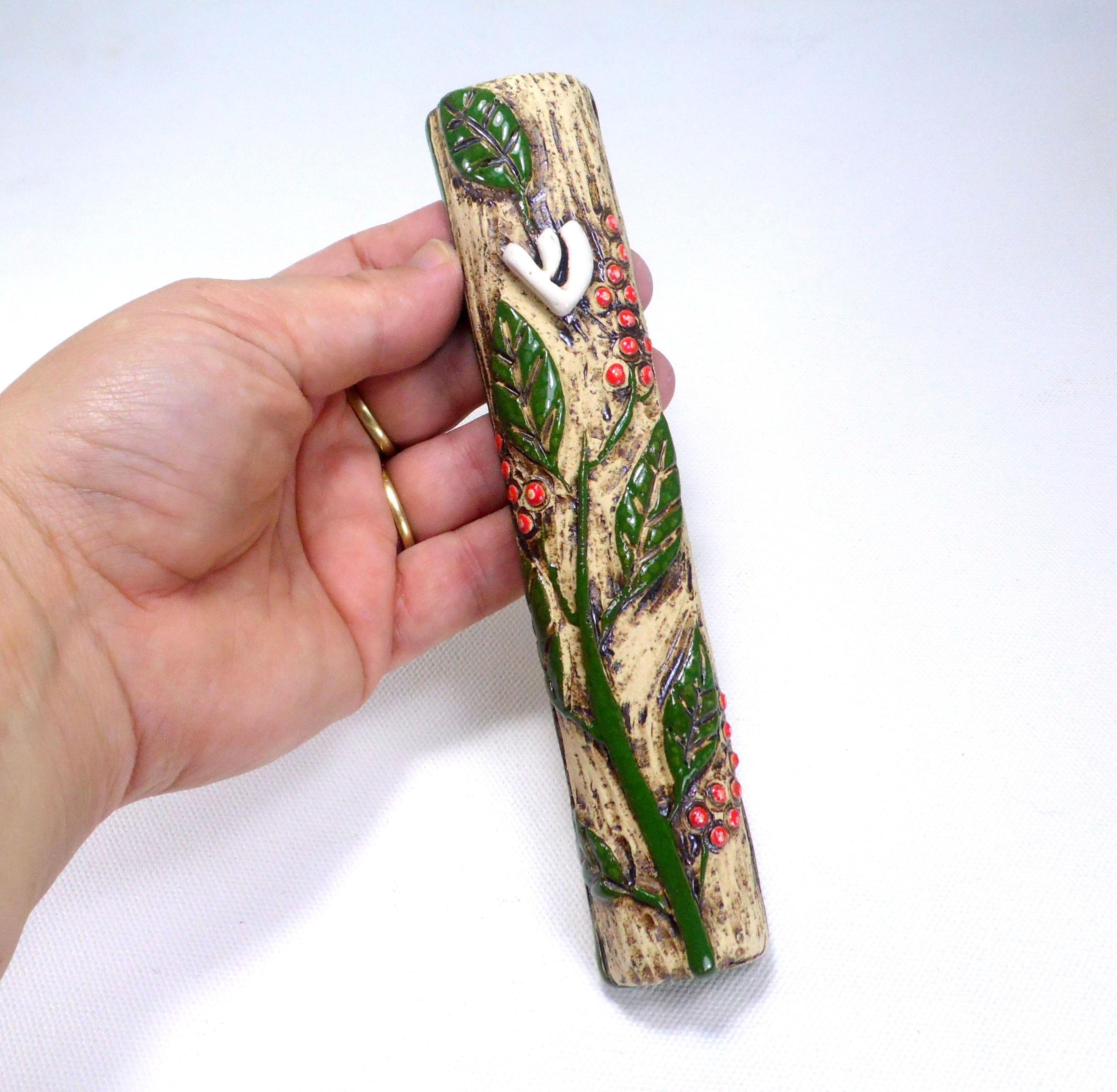 Mezuzah, Ceramic mezuzah. Mezuzah case, Judaic, Jewish art