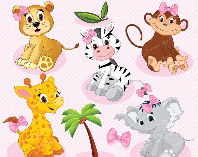 Safari Animals Digital Clipart Safari Nursery Safari Clipart Pink Safari Jungle Animals Clipart Ca139 Safari Animals Baby Wild Animals Animal Clipart