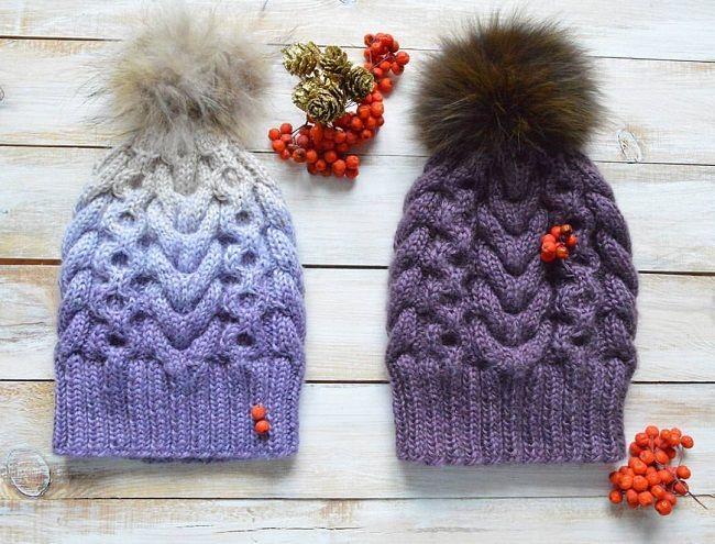 вязаная шапка с косами и градиентом мастер класс вязание шапки