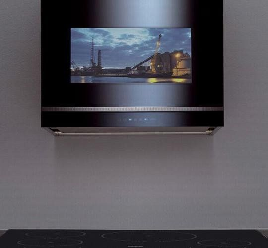 Falmec Vision Range Hood Puts Tv In The Kitchen Range Hood Glass Range Hood Stainless Steel Range Hood
