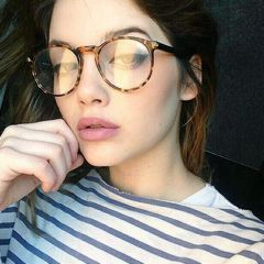 her glasses