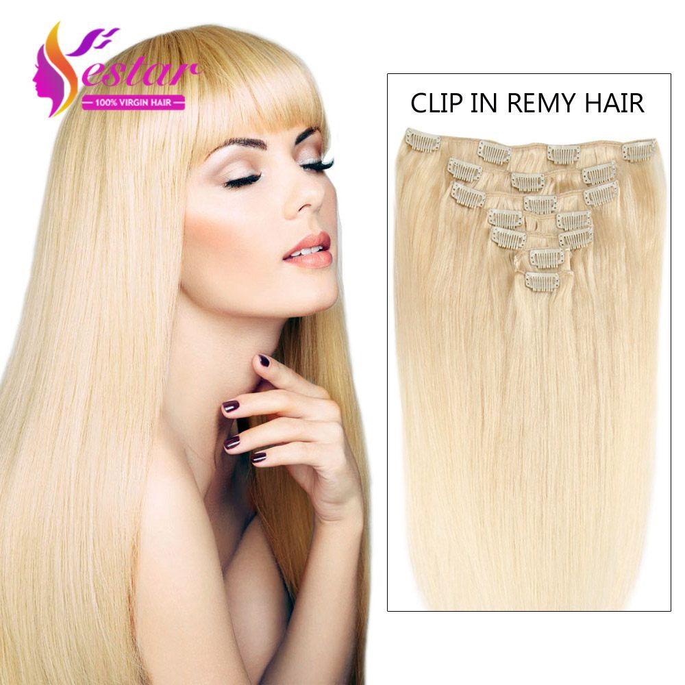 Aliexpress buy full head clip in hair extensions blonde 613 hair streaks for black hair on sale at reasonable prices buy full head clip in hair extensions blonde 613 straight indian hair clip ins remy human hair pmusecretfo Choice Image