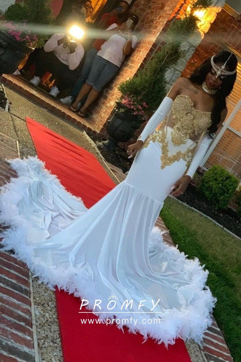 Gold Lace And White Jersey With Feathers Prom Dress Prom Girl Dresses Prom Dresses Prom Dresses Long With Sleeves [ 1200 x 800 Pixel ]