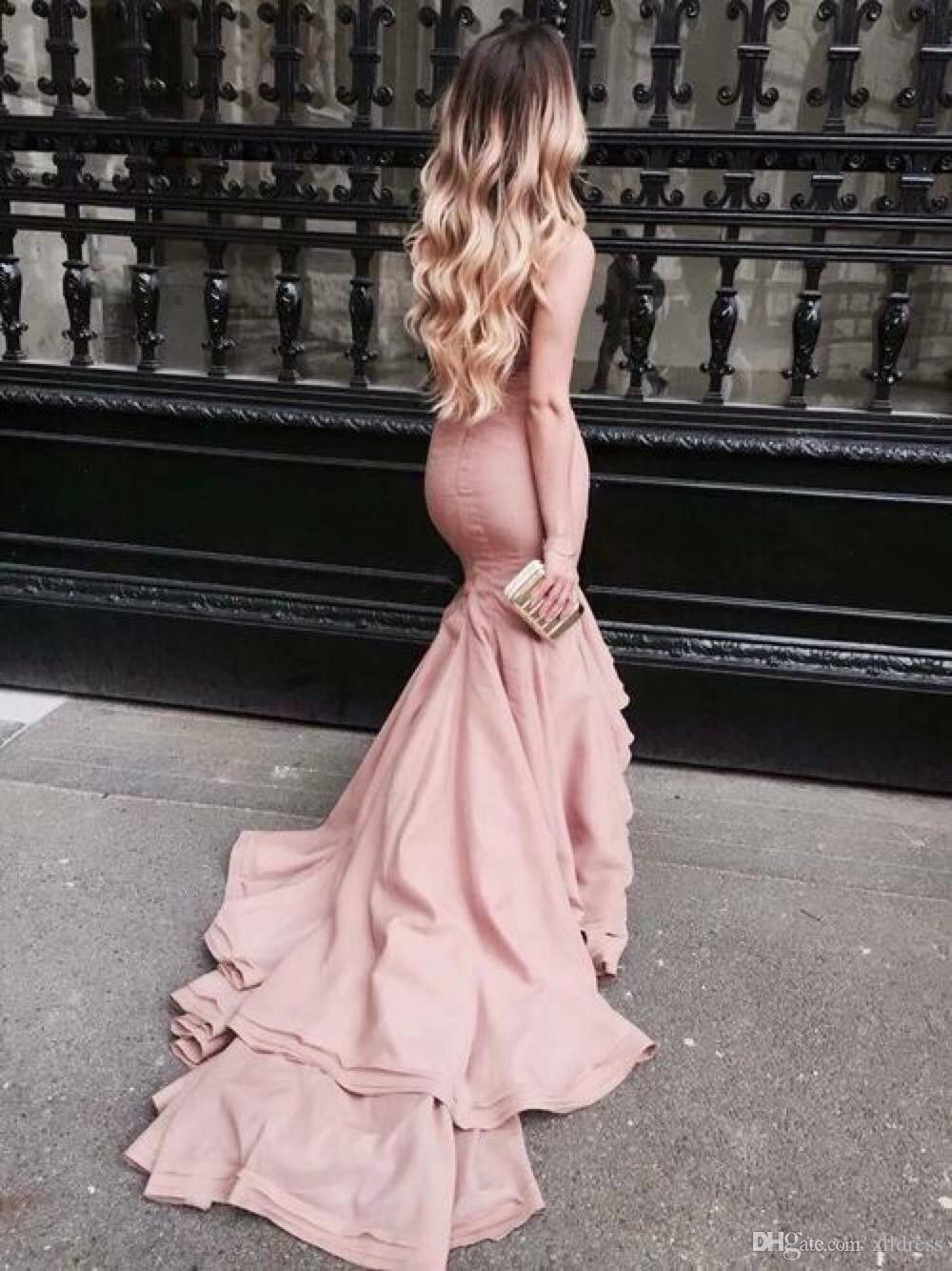 Blush pink mermaid prom dresses strapless satin bodycon evening