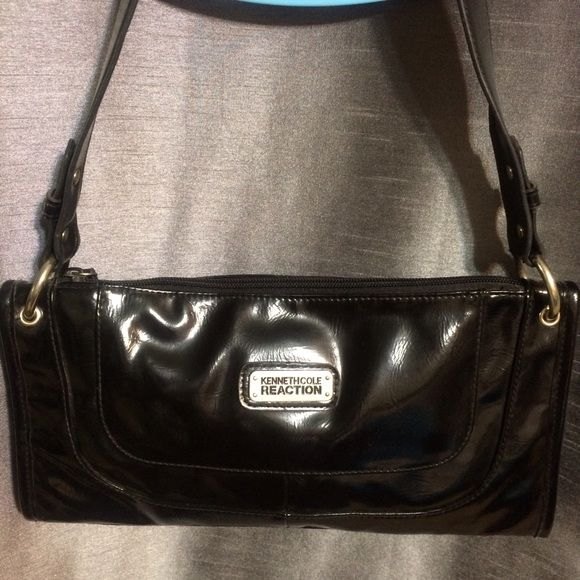 "Black Patent Kenneth Cole Bag Cute black purse. Perfect for work, date night or brunch with friends. This bag measures 12"" x 6.5"" x 2"" the handle has a drop of 10"". Perfect condition. Kenneth Cole Bags Shoulder Bags"