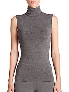 Donna Karan - Jersey Sleeveless Turtleneck Top