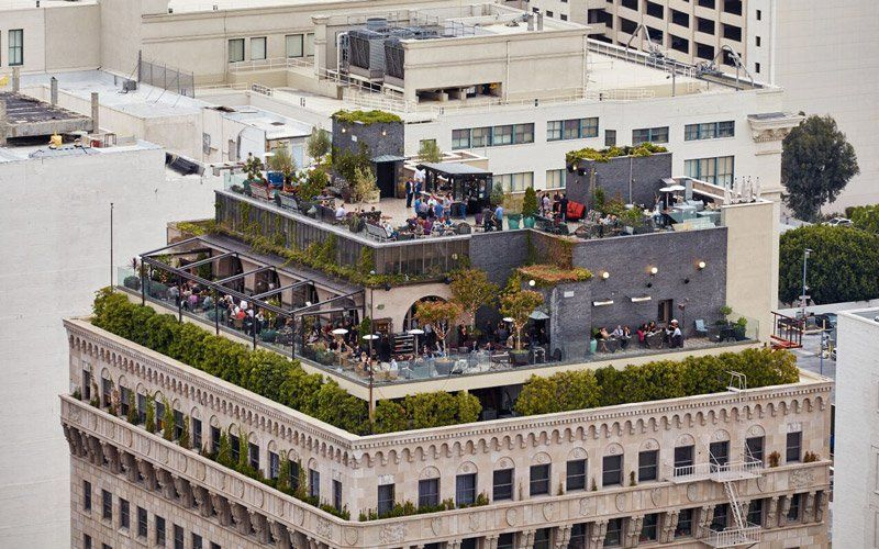 The Prettiest Rooftops In L A For Looking Over The World And Pondering Your Existence Rooftop Dining Best Rooftop Bars Rooftop Bar
