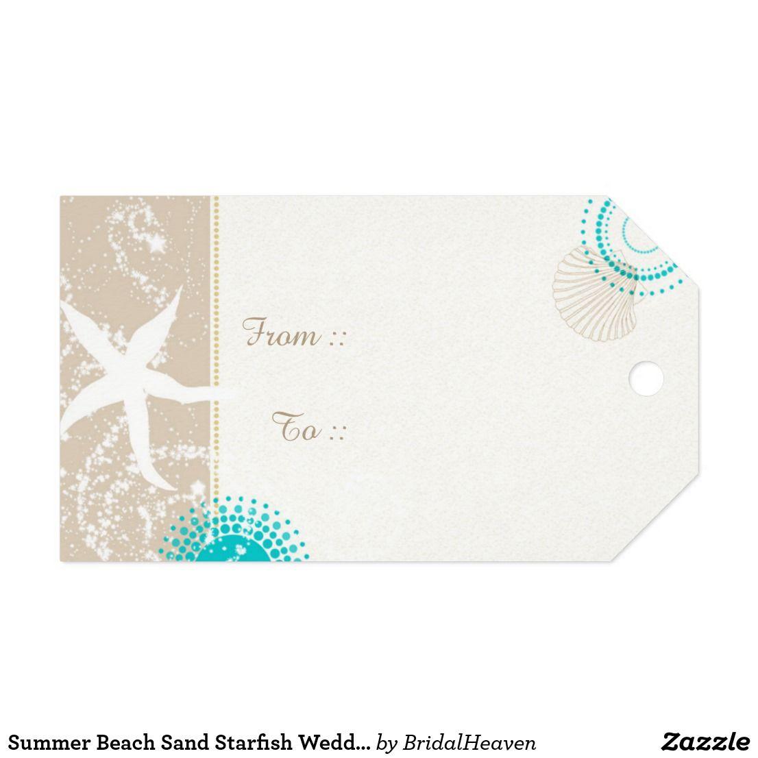 Summer Beach Sand Starfish Wedding Gift Tags | Custom wedding gifts ...