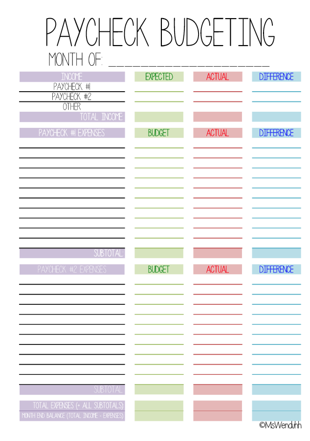 Paycheck Budgeting Printable Mswenduhh Get It Together