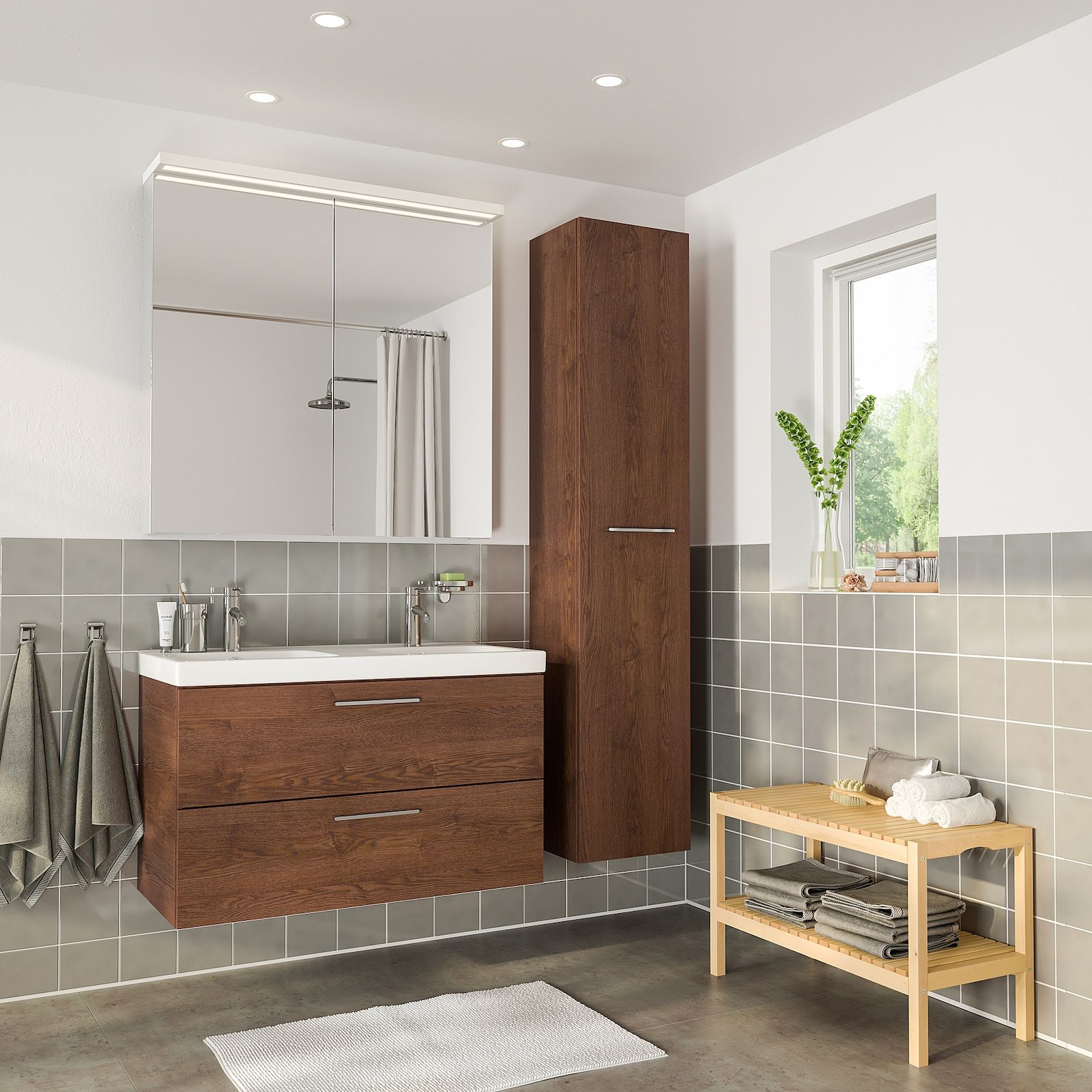 GODMORGON / ODENSVIK Bathroom furniture, set of 10, brown stained