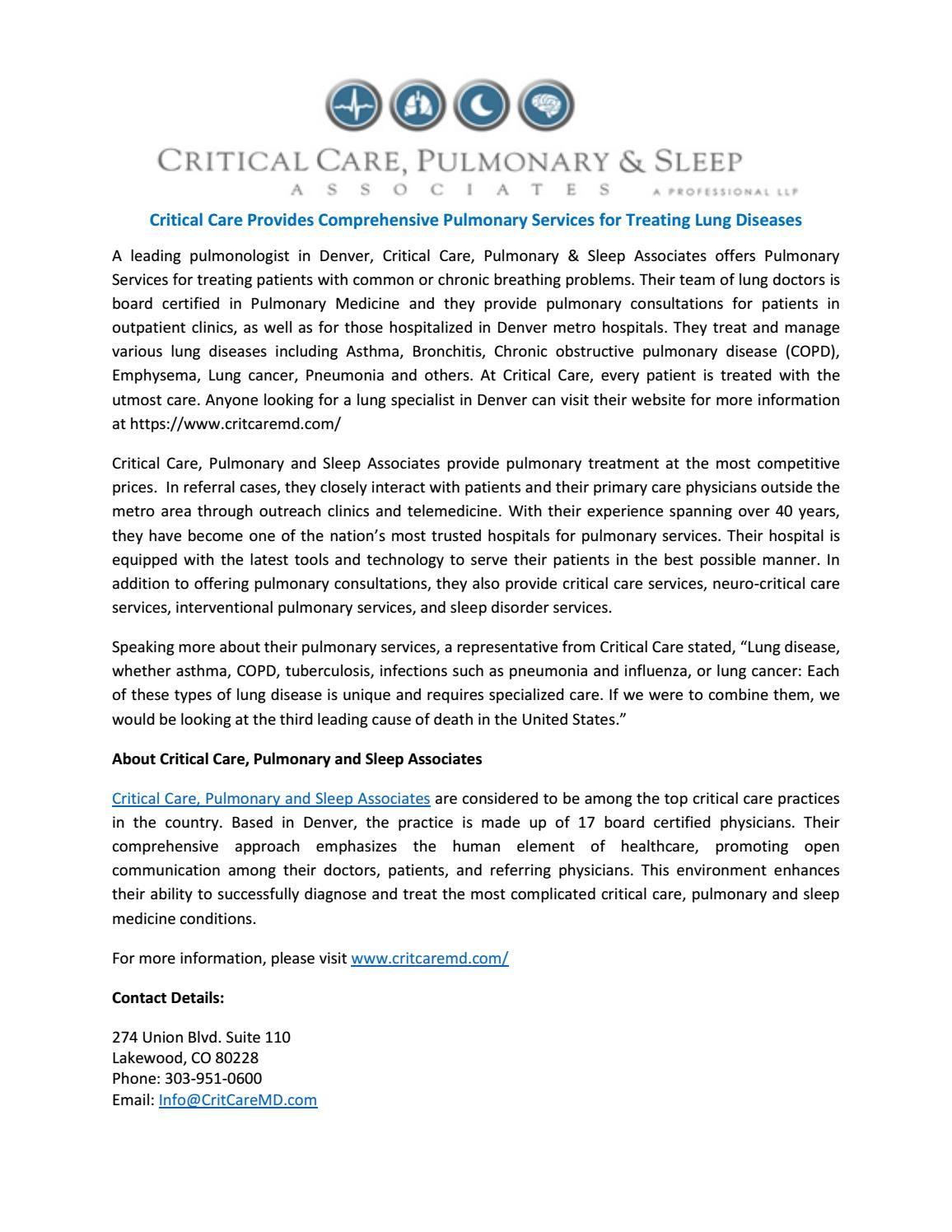 Critical care provides comprehensive pulmonary services