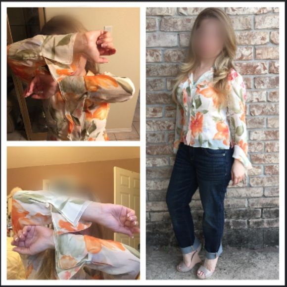 Loved once Talbots top Floral top in beige, orange, greens floral pattern with flattering flowy cuffs. Front button up top. Smoke free home Talbots Tops