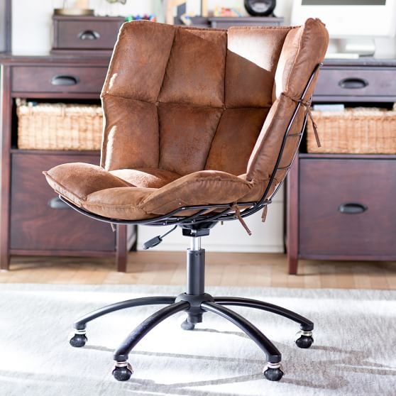 Faux Suede Tobacco Glove Swivel Desk Chair in 2020