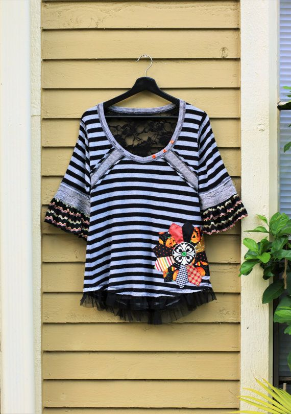 XL Halloween Upcycled fall lace top handmade artsy clothes Pumpkin autumn festival Recycled Clothing Black stripes Halloween Witch outfit
