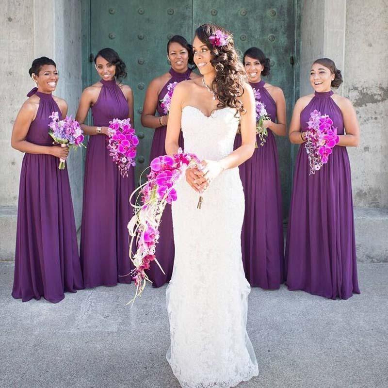 Moderno Azules Vestidos De Dama De Color Púrpura Ornamento - Vestido ...