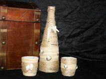 Dekoflasche mit 2 Teelichtgläsern, Muscheln