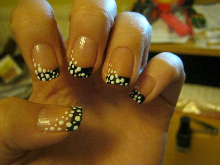 black french tip nail art by VIXEN270991.deviantart.com on ...
