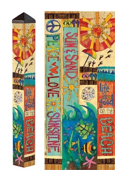 Great New Garden Art Pole With Beach Theme Carolina Creations