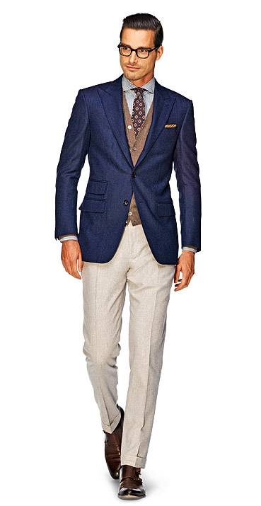 Match darker jackets and lighter pants, such as a velvet navy coat with light gray pants or a dark brown sports coat with light khaki pants. Pair a light-colored sports coats with dark trousers, such as a patterned tan sports jacket with denim jeans, or a light brown camel coat .
