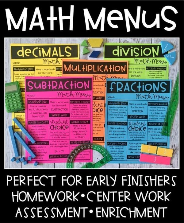 Engaging activities related to th grade math concepts and skills they are meant be used independently for early finishers homework center work also these menus provide students with rh pinterest