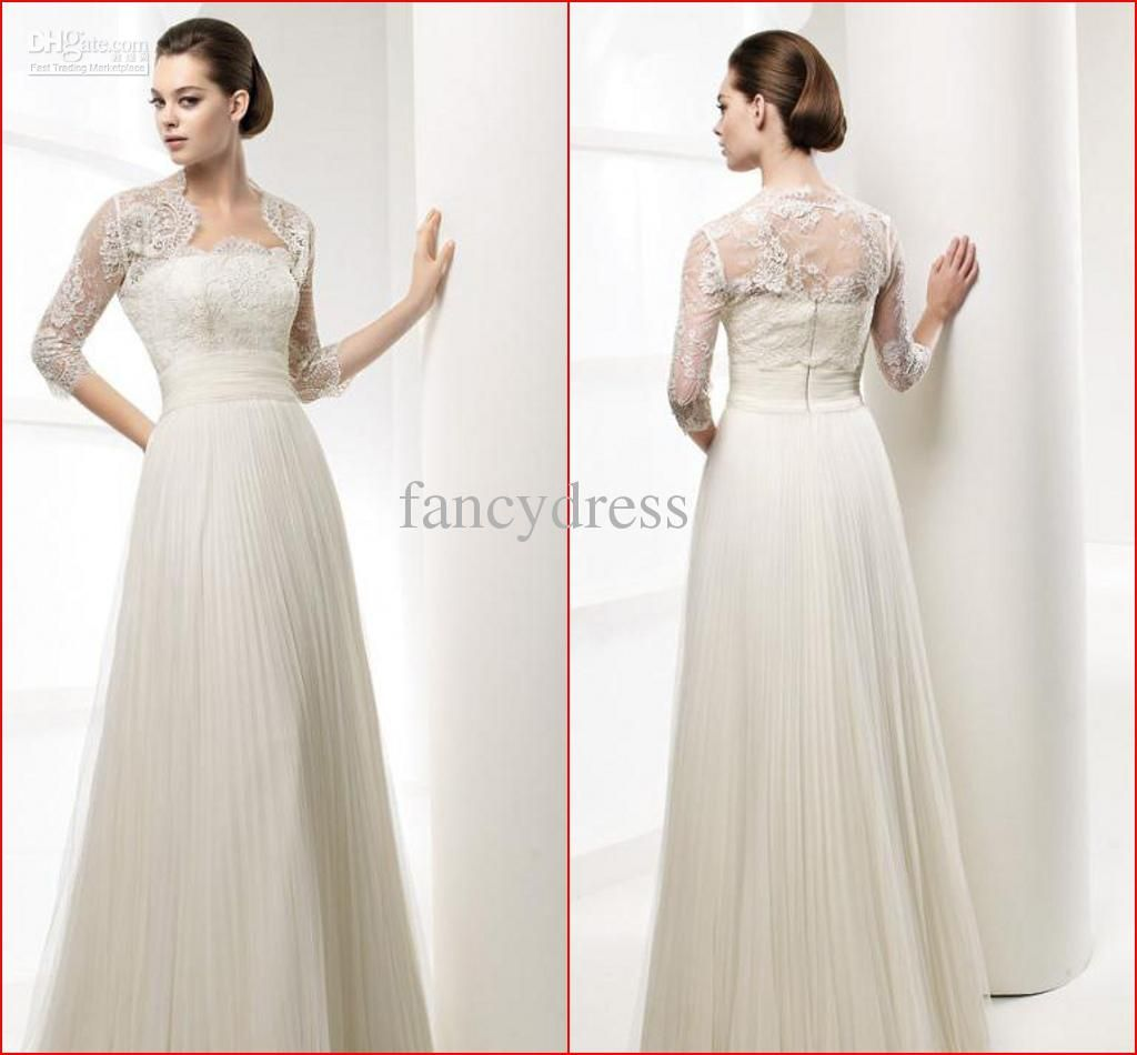 A Line Empire Waist Wedding Dress With Sleeves Google Search