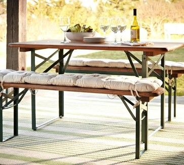 Tavern Rectangular Fixed Folding Dining Table And Bench Set
