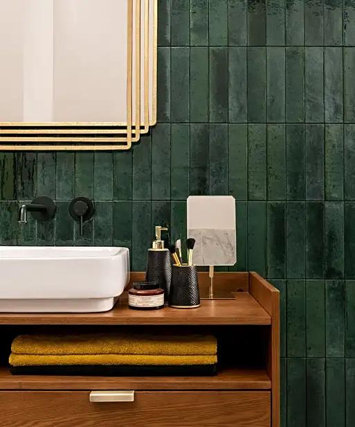 Zellica Forest Green Tile 6cm X 24cm In 2020 Green Tile Bathroom Black Tile Bathrooms Black Tile Bathroom Wall