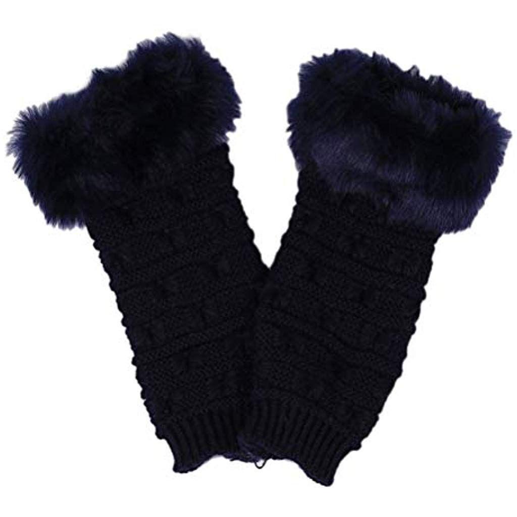 DE Fingerlose Handschuhe Winter Warm Half Finger Damen Strickhandschuh