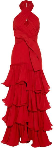 Halterneck Ruffled Silk-georgette Gown - Claret Johanna Ortiz Discount New lw2SfUoG6o